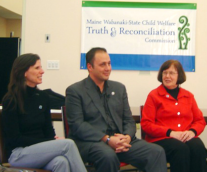(From left) Maine TRC's Esther Attean Altvater, Penobscot Indian Nation Chief Kirk Francis and TRC Commissioner Dr. Gail Werrbach prepare for a TV news interview at the Announcing of the Commissioners event, held on Dec. 18. Dr. Werrbach is among the five TRC Commissioners being sworn in tomorrow in Hermon. (Photo by Arla Patch)